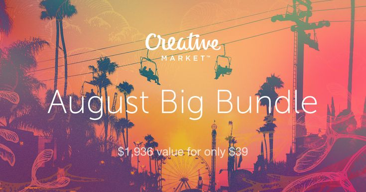August big bundle in Creative Market! 130 products worth $1,936 for only $39! I have to buy this!
