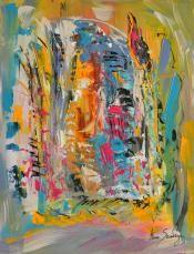 """tableau contemporain abstrait vertical intitulé """"flammes sur glace"""" de l'artiste peintre Ame sauvage"""