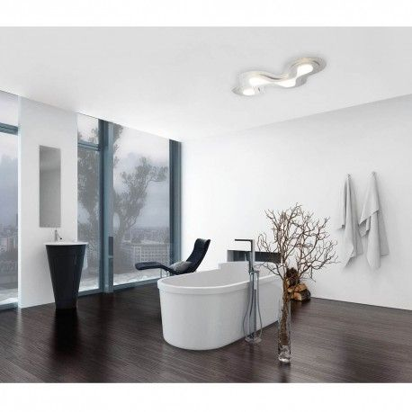 Plafón de techo de estilo moderno diseñado en forma irregular, fabricado en aluminio y con iluminación LED integrada de 48 W (intensidad de luz regulable). Podrás atenuar el color de la luz de cálido a blanco. Ideal para cualquier tipo de espacio y decoración.
