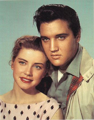 "Publicity shot for the movie ""King Creole,"" the first film in which Elvis had an on-screen kiss—that kiss was with Dolores Hart."