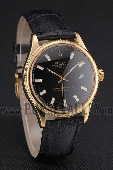 Swiss Rolex Datejust Black Dial Gold Case Black Leather Strap Replica Rolex Watches For Sale