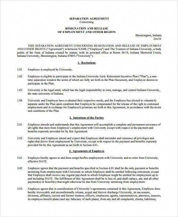 Employment Separation Agreement Template Sample Employment