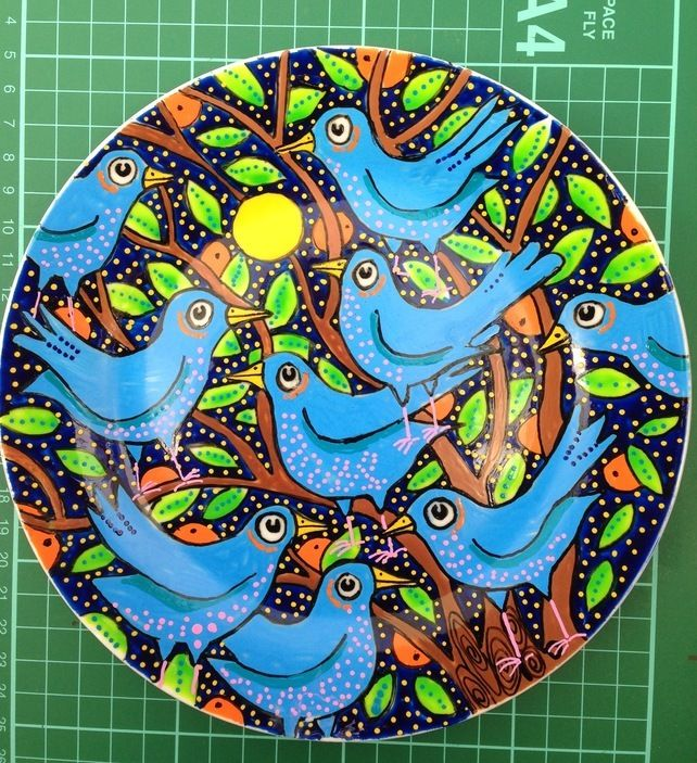 Handpainted Bird Plate. One off design £15.00