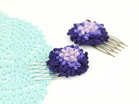 Check out this item in my Etsy shop https://www.etsy.com/listing/550490338/hair-comb-handmade-crochet-pom-pom-party