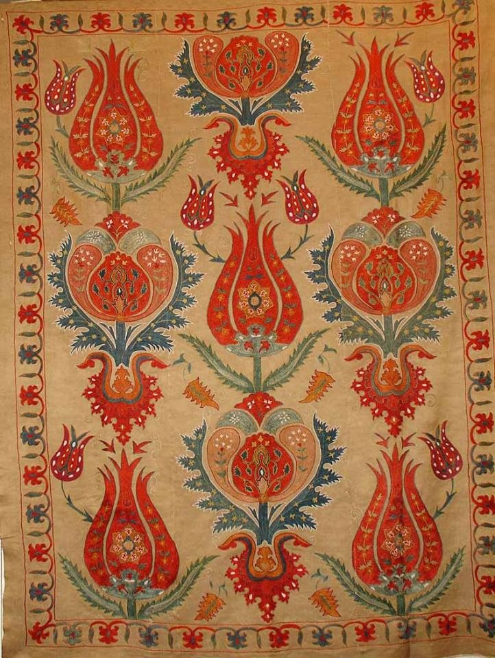 Ottoman Handmade Silk on Silk Chain Stitched Tulip Suzani