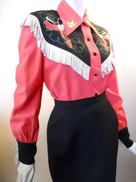 40s coral gabardine western shirt with fringe, DCV archives