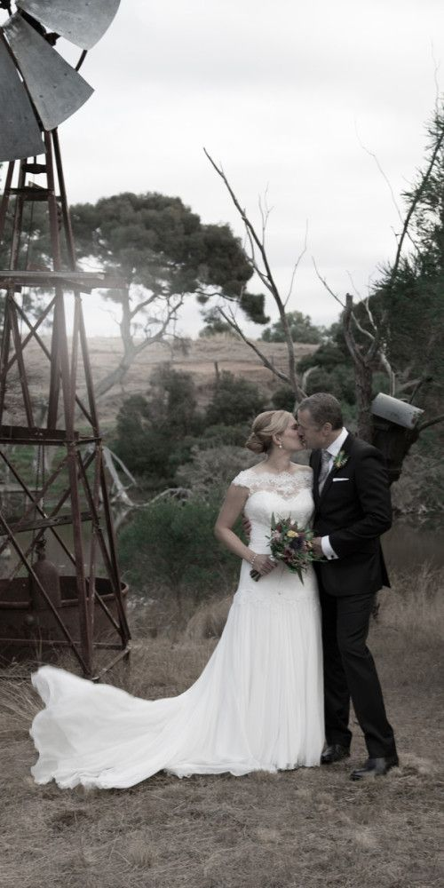 Alli and Sam on their wedding day at Minya Winery in Torquay - Photo by Agent 86 Photography
