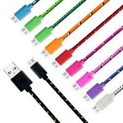 Eversame Braided Micro USB Extension Cable [10-Pack] 0.3m 11-Inch Colorful Durable High Speed USB 2.0 A Male to Micro B Data Sync