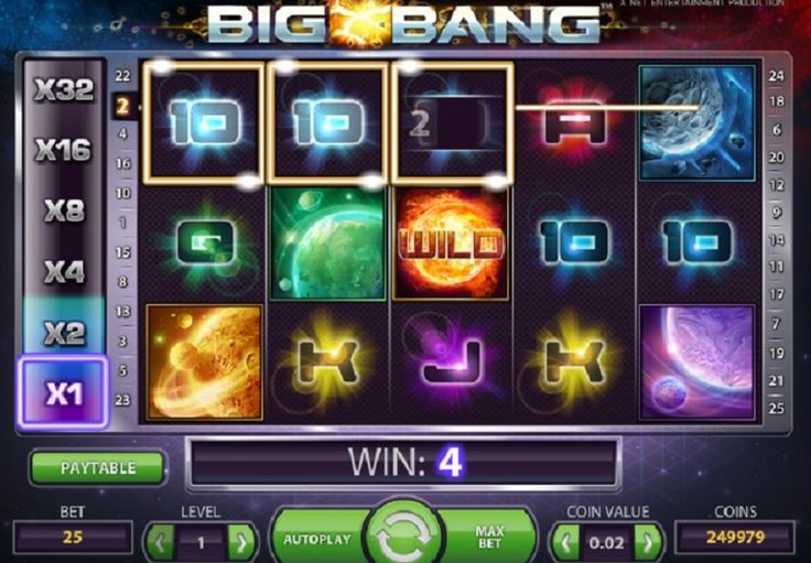 Big Bang videospilleautomat, som nemt kan stjæle rigtig mange timer. Det er nemlig ikke til at stoppe igen, når du først har oplevet spændingen ved at trykke på SPIN og lade ikonerne rulle derudaf. Nysgerrig? Prøv det selv og vind op til 268.032 mønter. #BigBang #spilleautomat