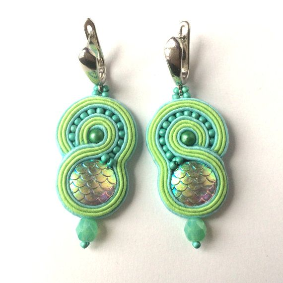 Soutache earrings Singing Mermaid by Lolissa on Etsy