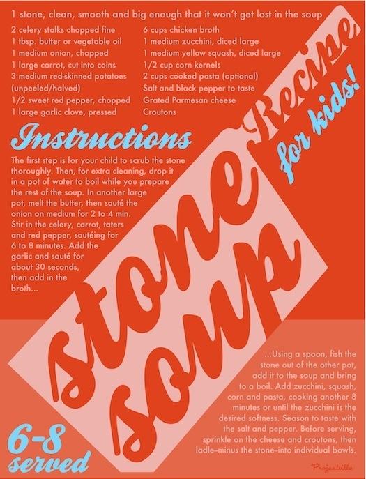 Artfully arranged Stone Soup recipe.Soup Recipe