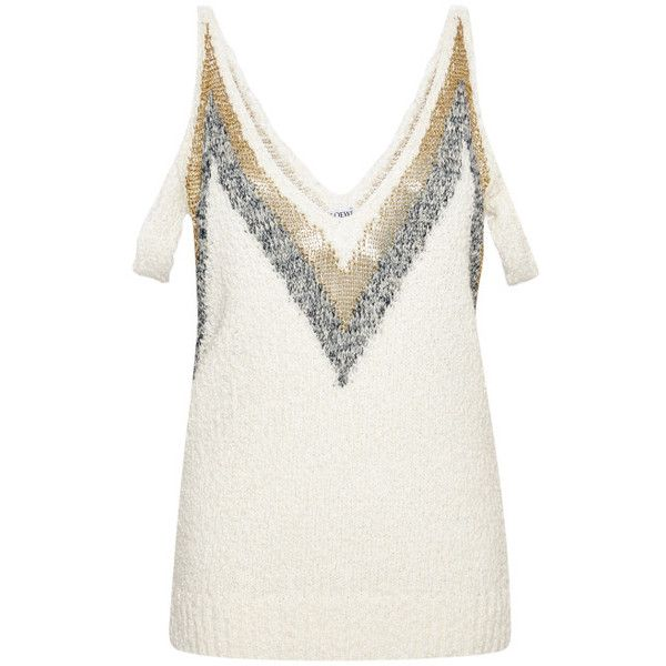 Loewe White V Top With Metallic Embroidery ($750) ❤ liked on Polyvore featuring tops, gold, strappy top, embroidery top, low v neck tops, white pullover and loewe