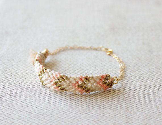modern friendship bracelet - peach + gold woven chevron bracelet by minco