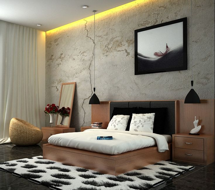 Edgy and cool bedroom interior decor ideas white brown for Wallpaper colors for bedroom