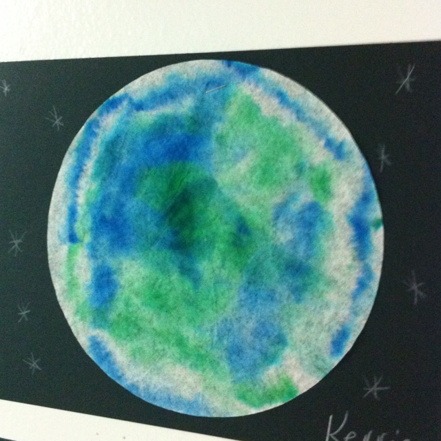 Earth Day Art Project. Coffee Filter, Green & Blue markers, water, spray bottle.