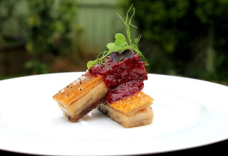 Confit pork belly with spiced plum sauce from www.chelseawinter.co.nz
