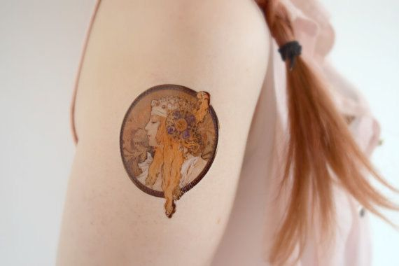 Temporary Tattoo Mucha - Artist, Female, Floral, Alphonse Mucha, Painting