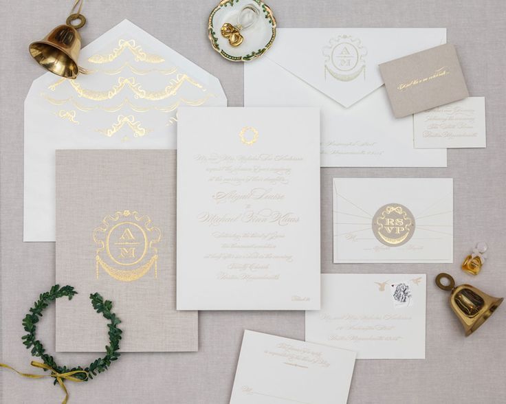 Switching to black ink would tie this in perfectly.    One of our most elegant designs, this royalty-sized invitation is the epitome of sophistication. Perfect for a black tie affair. Pricing overview Set includes: One color invitation with gold foil stamped garland at top of invitation One color reply card printed on one side Mailing envelope with monogram on flap and return address printing White …