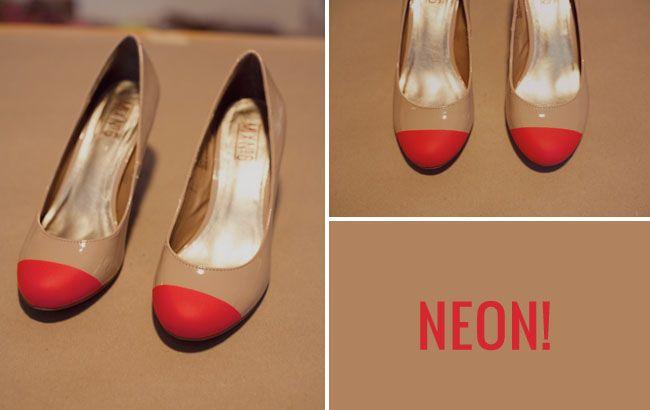 diy neon toe shoes - brilliant!