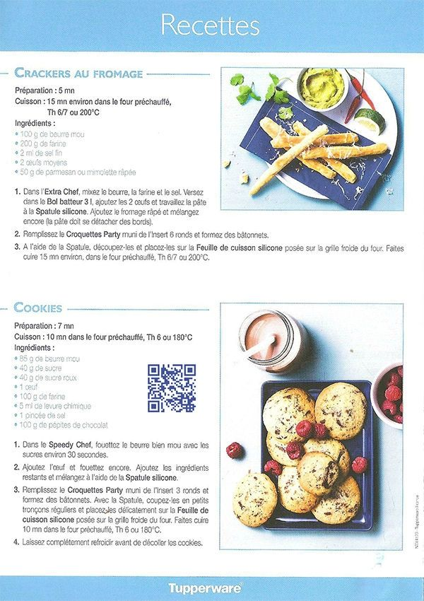 Fiche recette Crousty Party 3/4- Tupperware : crackers aux fromages, Cookies
