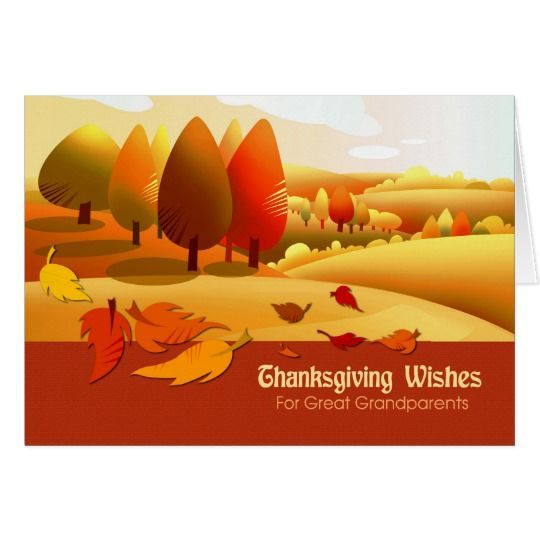 Thanksgiving Wishes  for Grandparents . Autumn Scenery Thanksgiving Customizable Greeting Card for Grandparents. Matching cards, postage stamps and other products available in the Holidays / Thanksgiving Category of the Mairin Studio store at zazzle.com