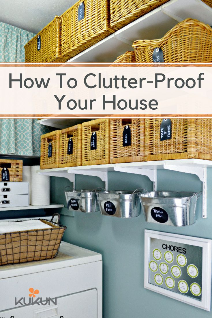 There are plenty of ways to eliminate clutter and keep it from re-emerging. A great way to start is investing in a few bins for your living spaces, as they can be placed on shelves or neatly tucked under beds! [Laundry Room Ideas, Clutter Free Homes, Clutter Solutions, Storage Bins, Wicker Bins, Tin Bins, Chore Board, Floating Shelves] #cluttersolutions #clutterelimination