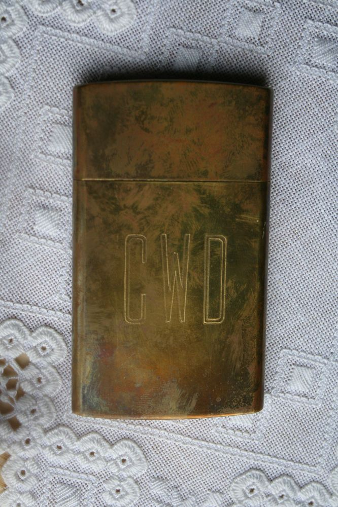 Vintage Brass Business Card Case Holder Brass No. 9, Chas T. Kennedy Japan