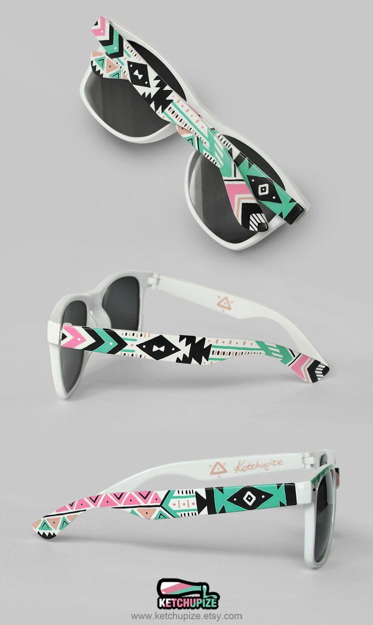 Sunglasses - Aztec print Tribal trend fashion sunglasses unique hand painted - pastel pink mint natural black. €37.00, via Etsy.