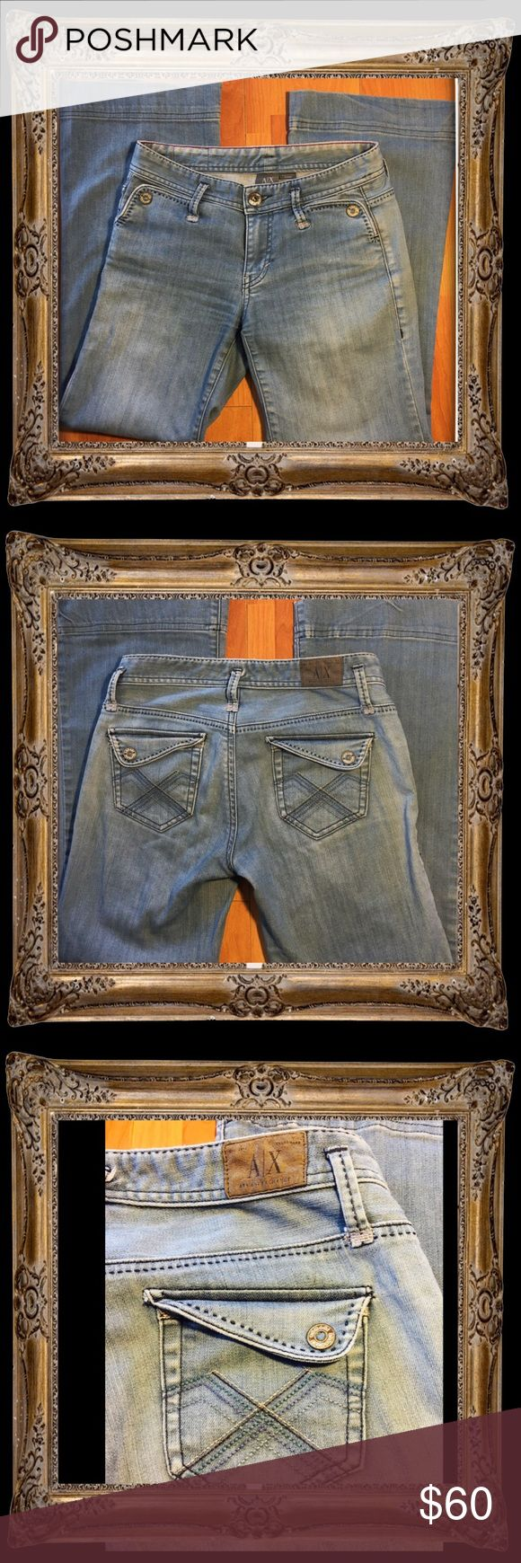 Armani Exchange Wide Leg Jeans Size 0 Short These wide leg jeans are another nod to the trending 90's. Cool button pockets and a faded wash add a relaxed feel to these trendy jeans. A/X Armani Exchange Jeans Flare & Wide Leg