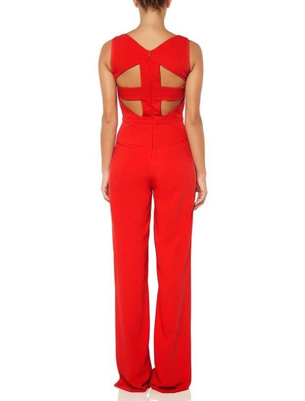 Κόκκινη ολόσωμη φόρμα με ανοιχτή πλάτη
