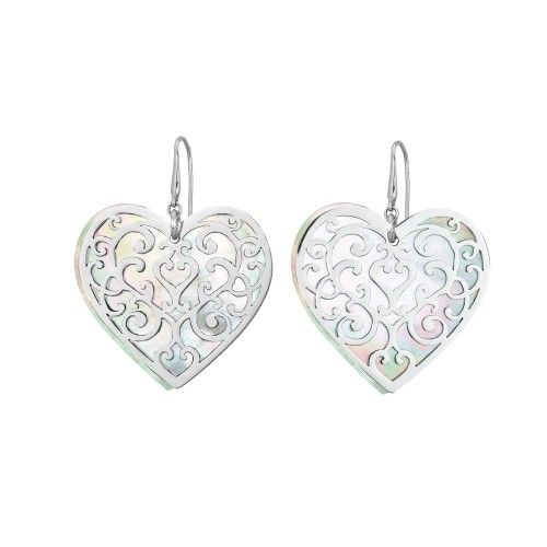 Earrings in steel and mother-of-pearl