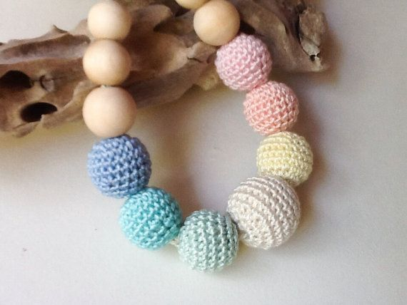 Crocheted Nursing Necklace by Snorkovna 21$  Eco teething toy for baby. Trendy jewerly for breastfeeding mommies. Modern natural hipster accessory.