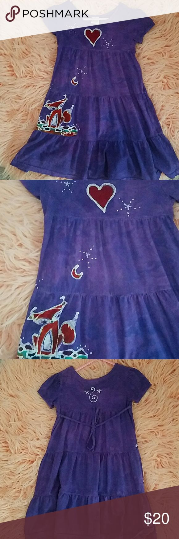 Festival dress size 2 Perfect festival dress! Dharma trading co. Size 2t, but still could fit my 4 year old. I think their sizes run big. Purple tye-dyeish with super cute fox moon and heart. Ties in back. Sad to see this one go! Dharma trading co. Dresses