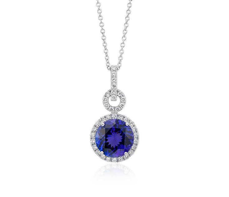 Mejores 12 imgenes de tanzanite necklaces and pendants en pinterest tanzanite and diamond halo pendant in 18k white gold 10mm aloadofball Image collections