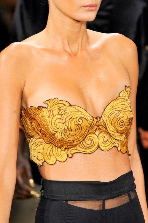 LOVE THIS // gold baroque bandeau bra OTT victorianna decadent fashion