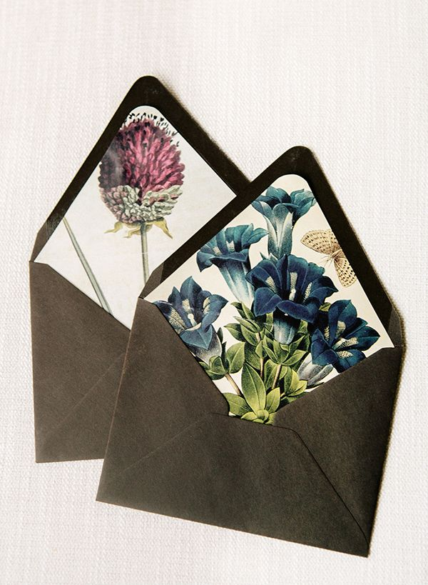 We love statement-making stationery and we're always looking for unique pieces that don't break the bank. With this simple DIY botanical and floral envelope liners from Adelphi Events, your save the d
