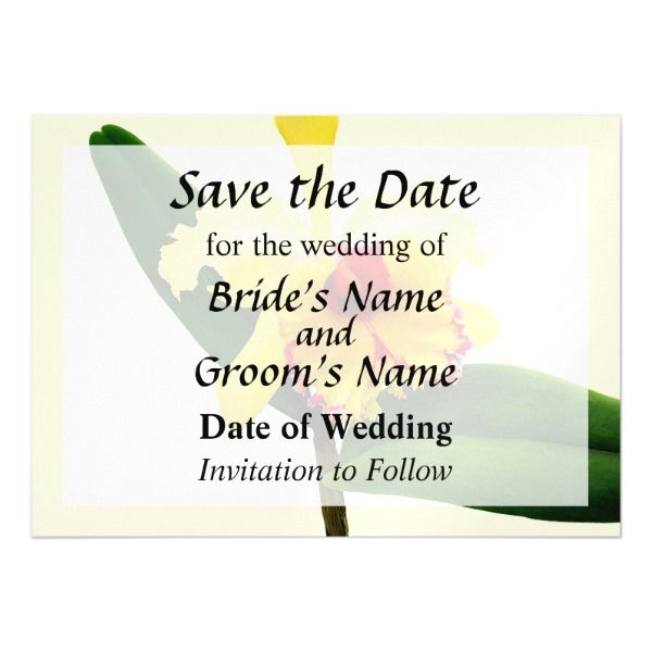 Pink Tipped Yellow Orchid Save the Date Magnetic Card