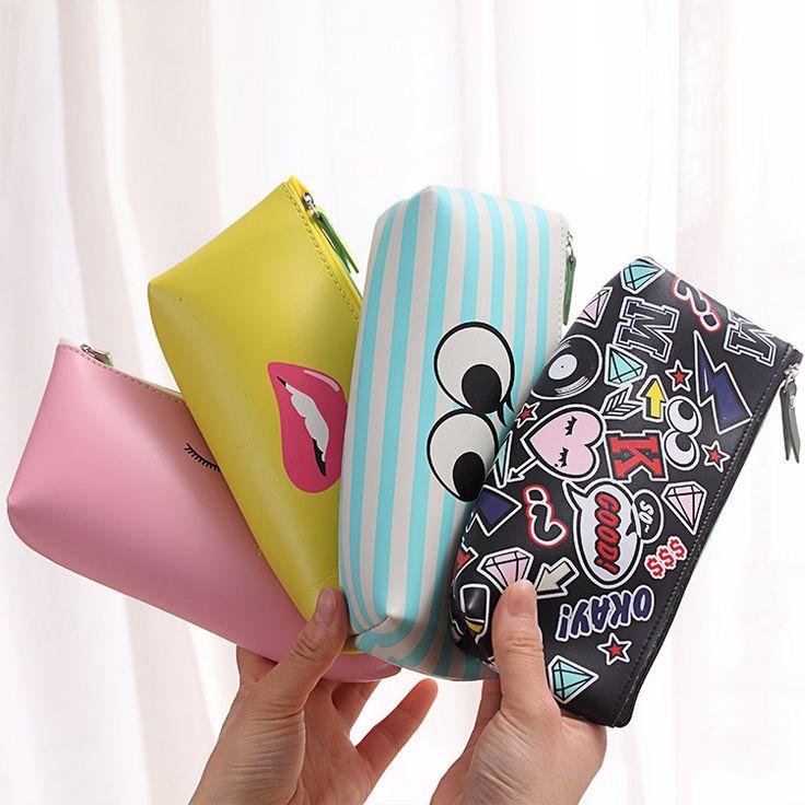 Fashion Women Travel Lip Big Cosmetic Bag Cute Cartoon Lady Waterproof Make Up Pu Leather Bag Brushes Toiletry Necessaries Case