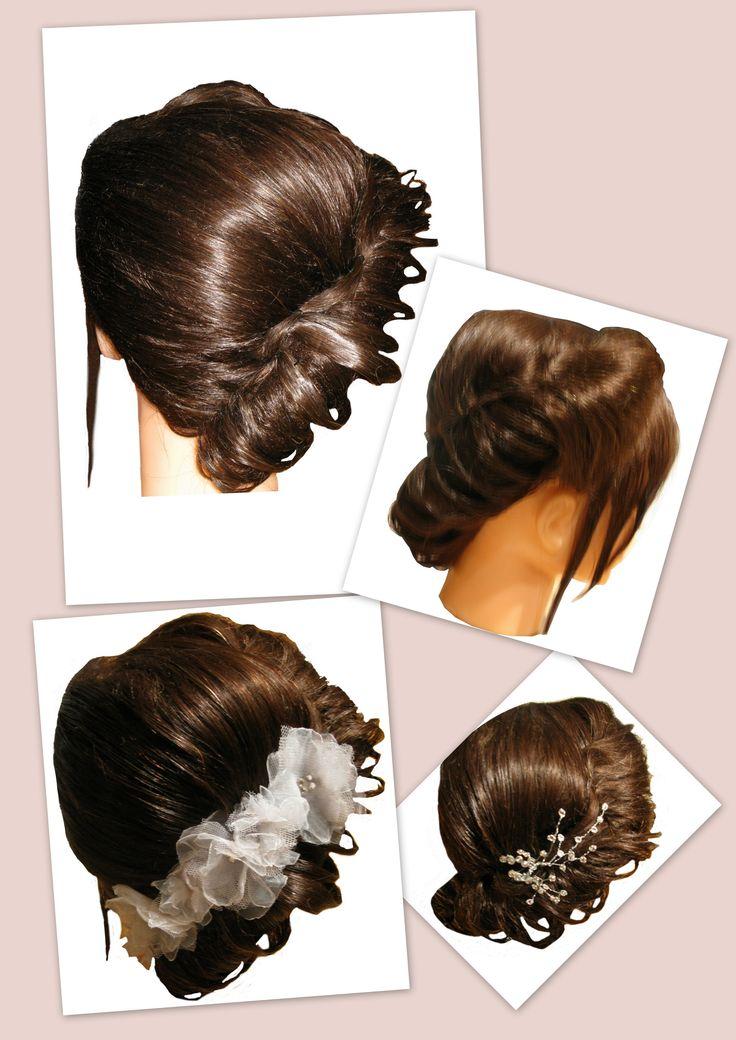 Trendy haar, Venlo Side roll with filigree variations Trendy Hairfashion for Bridal, Bride, Gala, Prom, Event, Party hair Zijwaartse opengewerkte rol, variaties Opgestoken haar voor de trendy bruid, bruiloft, gala, gelegenheid en feest kapsel