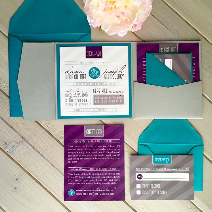 Superb Purple, Teal And Gray Pocket Wedding Invitation By Inspiration I Do.  Www.inspirationido