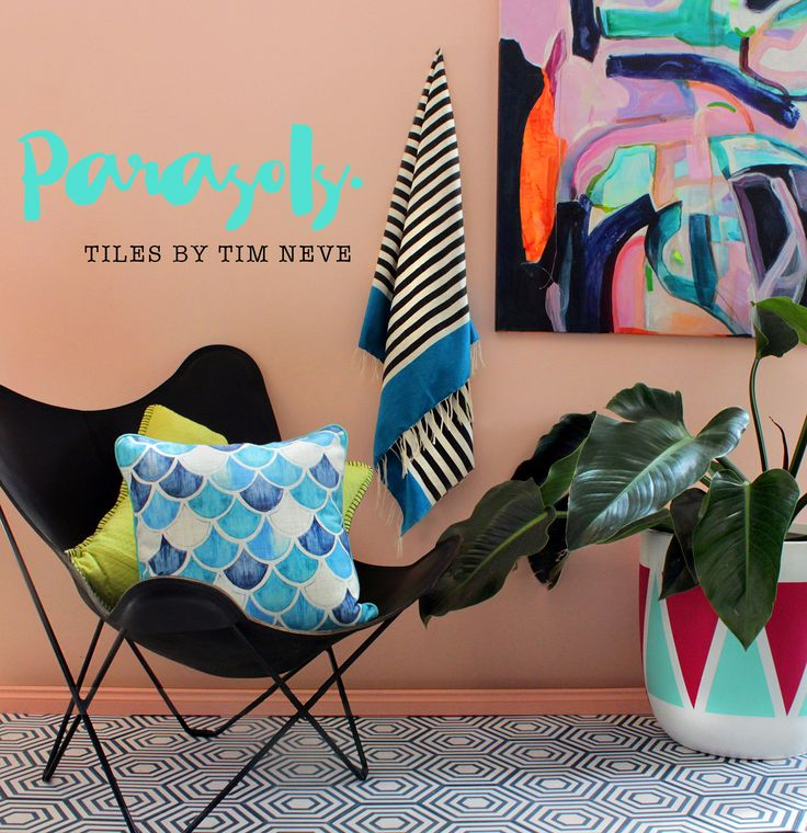 'Paraols' Hexagon - Introducing the full debut range of tile designs by Stylist Tim Neve. Shot on location with wares from Willows Home Traders (Warehouse) Shop the range at store.timneve.com