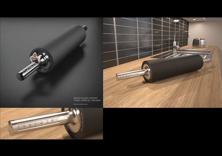 APEX ROLLING PIN / Baking roller. Concept sketch by PONTUS NY, 2010. Michelin with its connection to tires and also gastronomy. Porsche Design with its prominent kitchen products. A marriage that could create the most well balanced and effective rolling pin on the market.