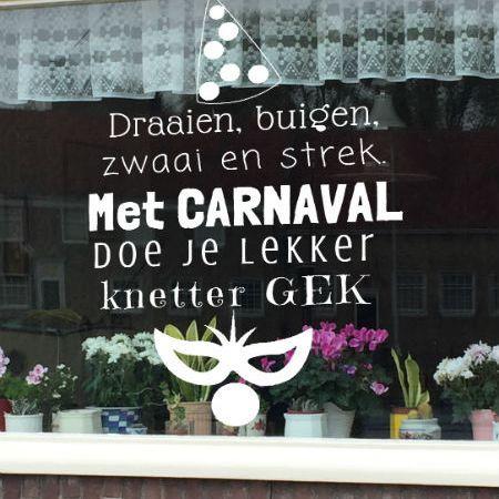 krijtstifttekening carnaval, raamtekening carnaval