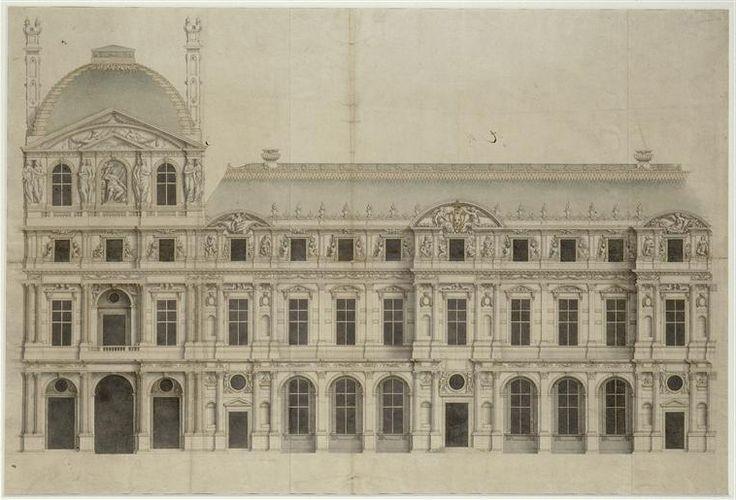 Jacques Lemercier - proyecto ampliacion M Louvre Paris (1624)