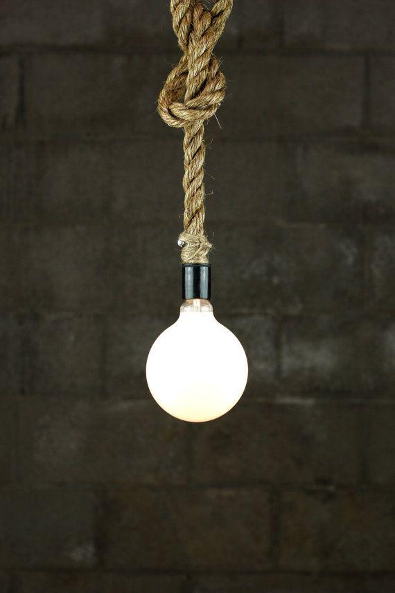 De zwarte beer hanger licht - industriële Rope plafondlamp - opknoping accentverlichting - rustiek licht meubilair - Edison lamp verklaring