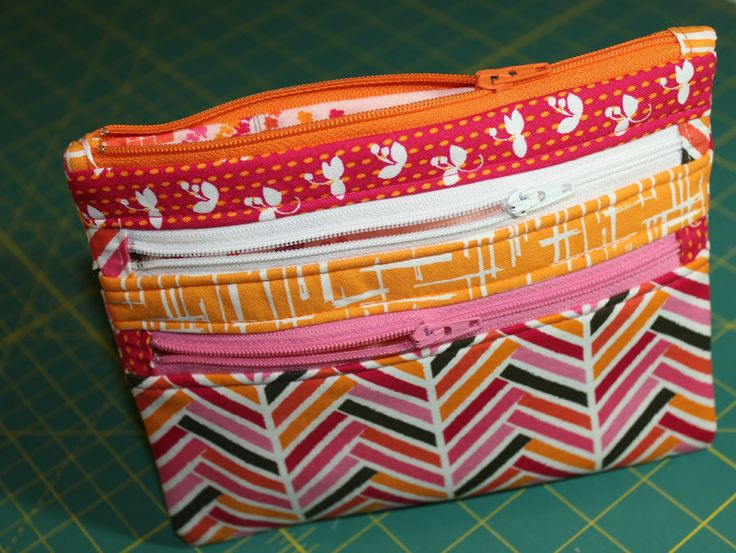 Triple-Zip Pouch from A Quilter's Table; tutorial too