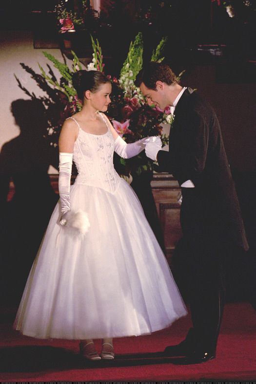 Rory Gilmore wearing a white gown...  It's deb ball time on Friday Night Dinner! We talk about how amazing they look on this week's podcast.  http://fridaynightdinner.podbean.com/e/episode-17-jess-arrives-in-stars-hollow/
