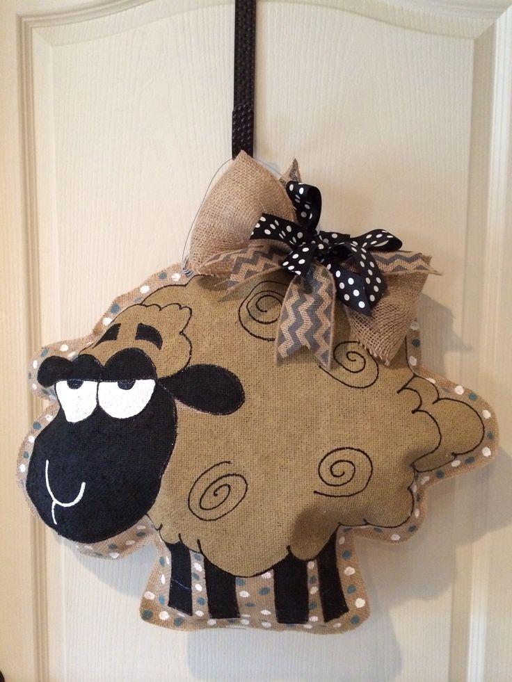 Whimsical vintage lamb burlap door hanger