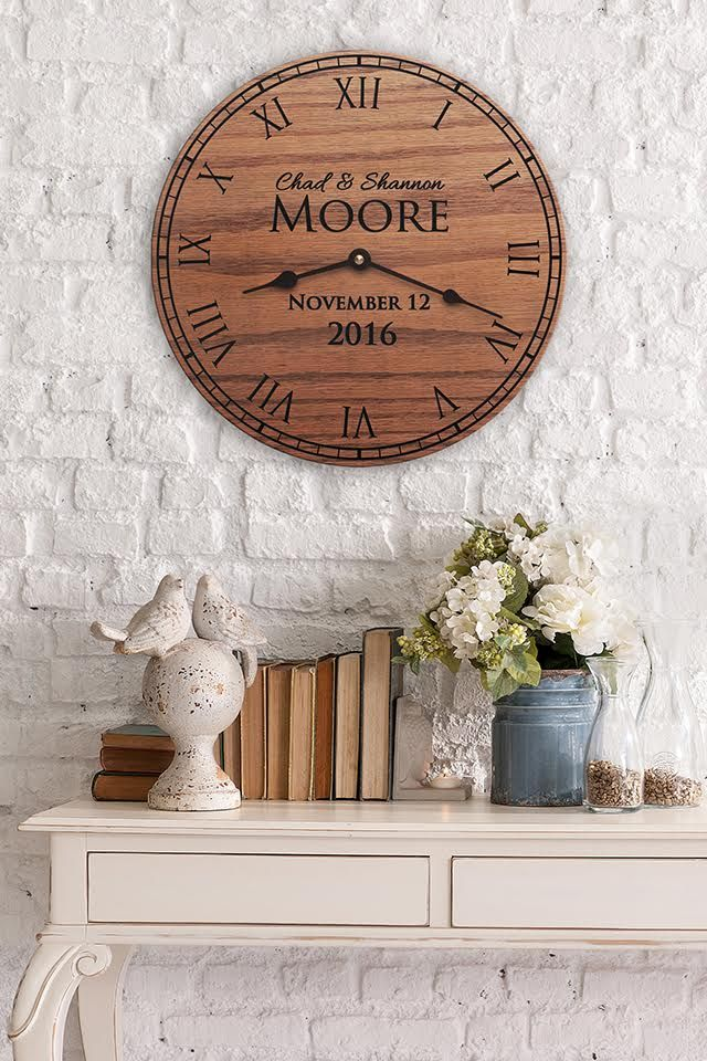 Custom Wooden Clock, perfect for 5th wedding anniversary traditional gift of wood.