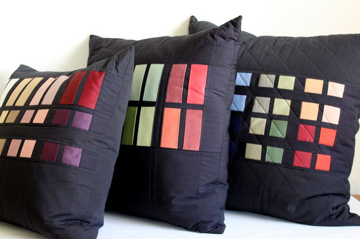 Color Block Patchwork Throw Pillows. Set of от PeppermintPinwheels